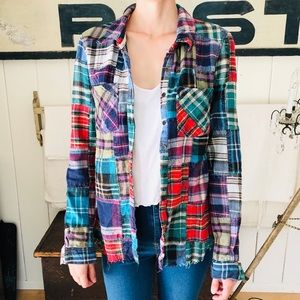 ♥️ Free People ♥️ Lost in Plaid Patchwork Flannel